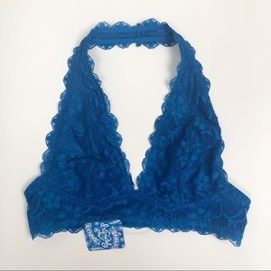 FREE PEOPLE l Blue Galoon Lace Halter Bralette NWT